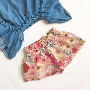 Zara BabyGirl Floral Textured Shorts